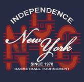 'SJÄLVSTÄNDIGHET, NEW YORK 'typografi, utslagsplatsskjortautskrift stock illustrationer
