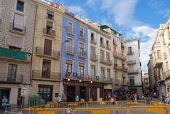 Självständighetflaggor i Manresa, catalonia royaltyfri bild