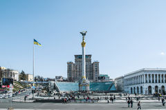 Självständighetfyrkant, den huvudsakliga fyrkanten av Kiev, Ukraina (Maidan) Royaltyfria Bilder