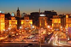 Självständighetfyrkant i Kiev Arkivbild