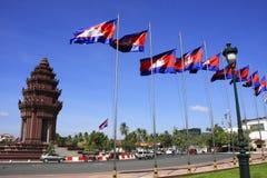 Självständighetmonument, Phnom Penh, Cambodja Arkivfoto
