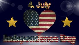 Självständighetsdagen amerikanska flaggan, symbol, tecken, bästa illustration 3D Arkivbild