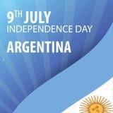 Självständighetsdagen av Argentina Flagga och patriotiskt baner också vektor för coreldrawillustration stock illustrationer