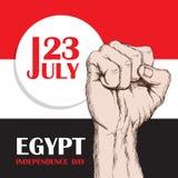 Självständighetsdagen av Colombia Egypten Juli 23rd Nationell patriotisk ferie av befrielsen i Nordafrika Gripen hårt om människa stock illustrationer