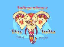 Självständighetsdagen av den Indien affischen med elefanten royaltyfri illustrationer