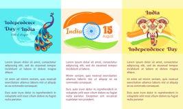 Självständighetsdagen av den Indien samlingen av affischer vektor illustrationer