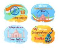Självständighetsdagen av den Indien vektorillustrationen royaltyfri illustrationer