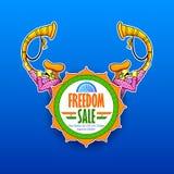 Självständighetsdagen av det Indien försäljningsbanret med den tricolor indiska flaggan royaltyfri illustrationer
