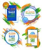 Självständighetsdagen av det Indien försäljningsbanret med den tricolor ramen för indisk flagga vektor illustrationer