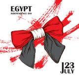 Självständighetsdagen av Egypten Juli 23rd Nationell patriotisk ferie av befrielsen i Latinamerika, Nordafrika Hand royaltyfri illustrationer