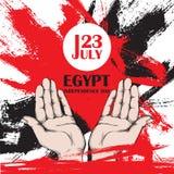 Självständighetsdagen av Egypten Juli 23rd Nationell patriotisk ferie av befrielsen i Nordafrika Öppna händer av en man, a Royaltyfri Foto