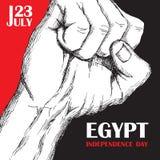 Självständighetsdagen av Egypten Juli 23rd Nationell patriotisk ferie av befrielsen i Nordafrika Hand-dragen skuggning stock illustrationer