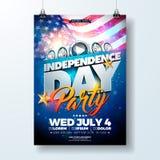 Självständighetsdagen av illustrationen för USA partireklamblad med flaggan och bandet Vektorfjärdedel av den Juli designen på mö vektor illustrationer