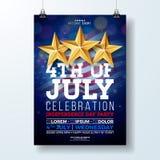 Självständighetsdagen av illustrationen för USA partireklamblad med flaggan och bandet Vektorfjärdedel av den Juli designen på mö stock illustrationer