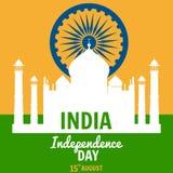 Självständighetsdagen av Indien, Augusti 15, ferie, nationsflagga, byggande av Taj Mahal, vektor, illustration som isoleras royaltyfri illustrationer
