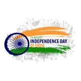 Självständighetsdagen av Indien 15th august vektorillustration stock illustrationer