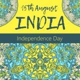Självständighetsdagen av Indien th 15 av Augusti med mandalaen Orientalisk modell, illustration Islam arabiskt indiskt turkiskt m Fotografering för Bildbyråer