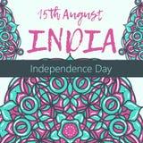 Självständighetsdagen av Indien th 15 av Augusti med mandalaen Orientalisk modell, illustration Islam arabiskt indiskt turkiskt m Royaltyfria Bilder