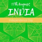Självständighetsdagen av Indien th 15 av Augusti med mandalaen Orientalisk modell, illustration Islam arabiskt indiskt turkiskt m Arkivfoton