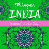 Självständighetsdagen av Indien th 15 av Augusti med mandalaen Orientalisk modell, illustration Islam arabiskt indiskt turkiskt m Arkivbild