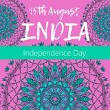 Självständighetsdagen av Indien th 15 av Augusti med mandalaen Orientalisk modell, illustration Islam arabiskt indiskt turkiskt m Royaltyfri Bild