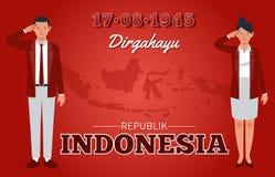Självständighetsdagen av Republiken Indonesien royaltyfri illustrationer