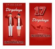 Självständighetsdagen av Republiken Indonesien stock illustrationer