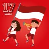 Självständighetsdagen av Republiken Indonesien på 17th Augusti vektor illustrationer