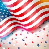 Självständighetsdagen av USA vektorillustrationen Fjärdedel av den Juli designen med flaggan och stjärnor på ljus bakgrund för vektor illustrationer