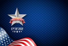Självständighetsdagen av USA vektorillustrationen Fjärdedel av den Juli designen med flaggan på blå bakgrund för baner som hälsar stock illustrationer