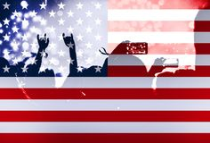 Självständighetsdagen, fyrverkerier, folkmassa och flagga av Amerika Arkivbilder