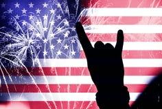 Självständighetsdagen, fyrverkerier och flagga av Amerika Royaltyfri Foto