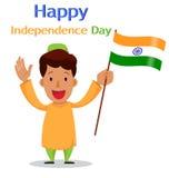 Självständighetsdagen i Indien Hälsningkort med den roliga tecknad filmrödingen stock illustrationer