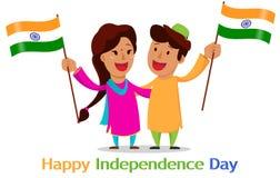 Självständighetsdagen i Indien Hälsningkort med den roliga tecknad filmrödingen vektor illustrationer