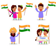 Självständighetsdagen i Indien Hälsningkort med den roliga tecknad filmrödingen royaltyfri illustrationer