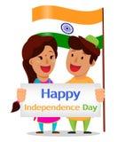 Självständighetsdagen i Indien Indisk hållande hälsning för man och för kvinna royaltyfri illustrationer