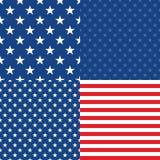Självständighetsdagen i USA seamless set för 4 modeller Royaltyfri Fotografi