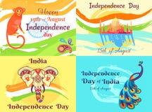 Självständighetsdagen på 15th av August Posters Set Arkivbilder