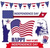 Självständighetsdagen 4th Juli i den Amerika uppsättningen Arkivfoton