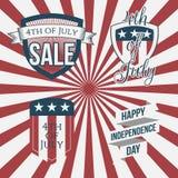 Självständighetsdagen 4th märker Juli samlingen royaltyfri illustrationer