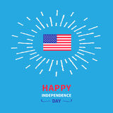 Självständighetsdagen USA för glänsande effekt för flagga lycklig 4th juli Blå design för bakgrundskortlägenhet Royaltyfria Bilder