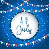 Självständighetsdagenbakgrund med banret och text 4th Juli Royaltyfri Bild