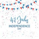 Självständighetsdagenbakgrund med konfettier och text 4th Juli Arkivfoto