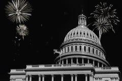 Självständighetsdagenfyrverkeriberömmar över U S capitoldc washington Arkivbild