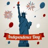 Självständighetsdagenkortbegrepp med frihetstatyn Arkivbilder