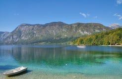 Sjö Bohinj i den Triglav nationalparken, Slovenien royaltyfria foton