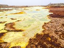 Sjö Dallol i den Danakil fördjupningen, Ehtiopia Royaltyfri Fotografi