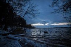 Sjö efter solnedgångvinter Arkivfoto