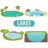 Sjö, en uppsättning av sjöar med träd och stenar Royaltyfri Foto