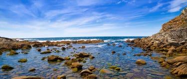 Sjö för Lago DOS Nenos i Islas Cies öar av Vigo royaltyfria foton